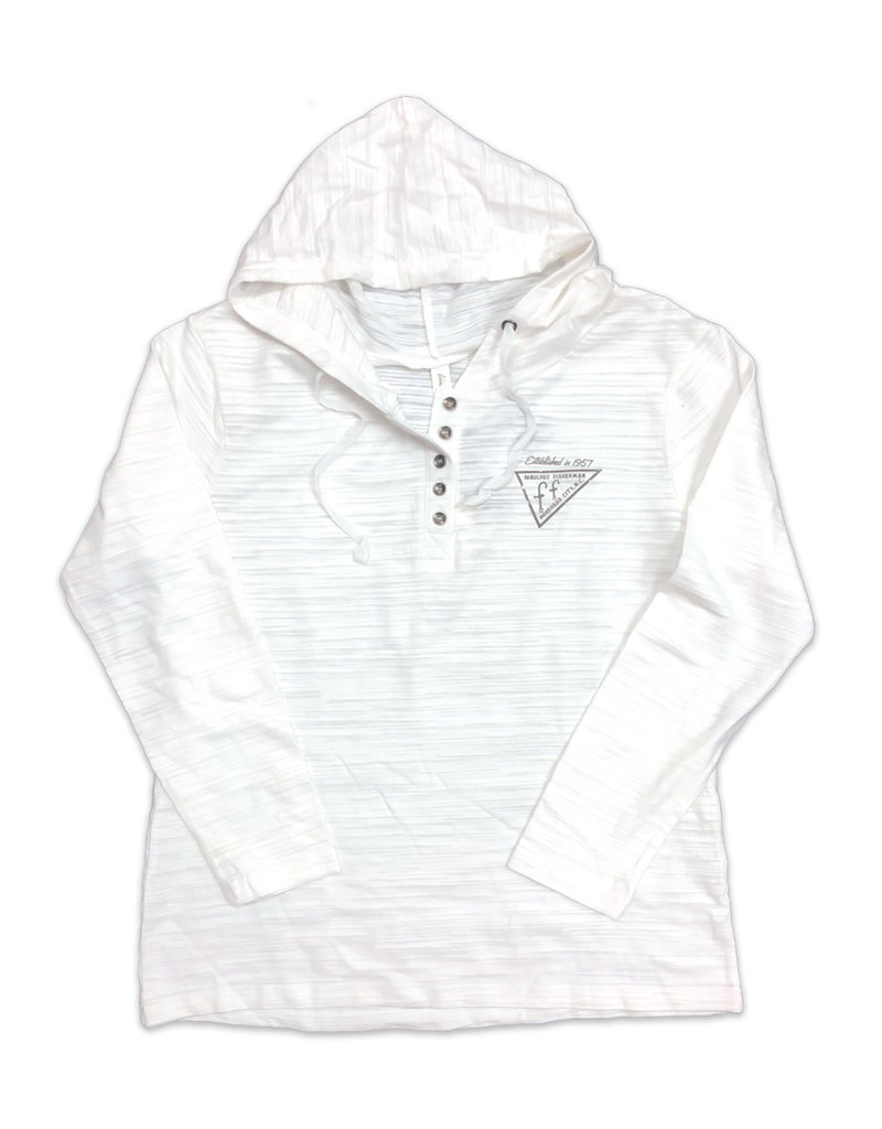 Ladies White Circle Banner Hoodie