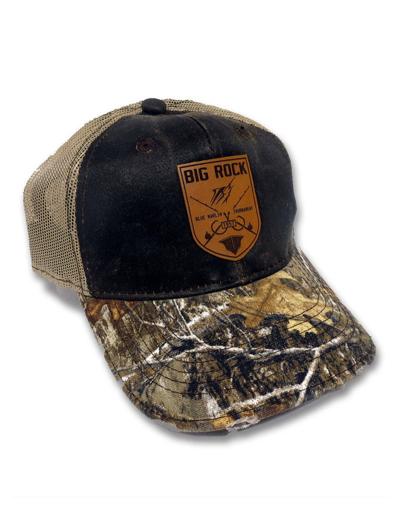 Crossed Rods Leather Patch RealTree Camo Trucker Hat