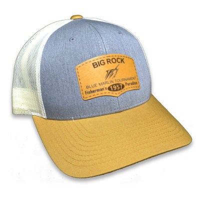Fisherman's Paradise Leather Patch Hat, Gray/Birch/Amber