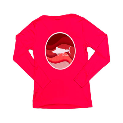Ladies V-Neck Coral Wave Circle Performance Shirt