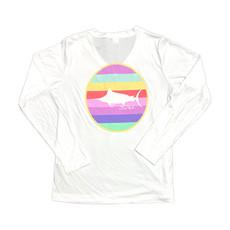 Ladies V-Neck Multi Stripe Circle Performance Shirt