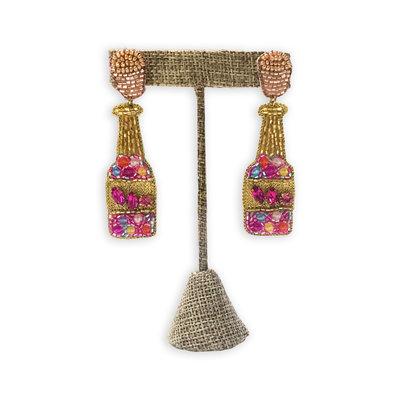Big Rock Beaded Champagne Bottle Earrings