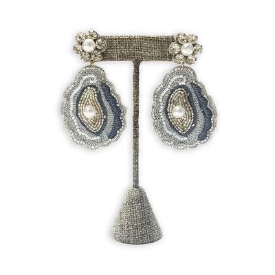 Big Rock Beaded Oyster Earrings