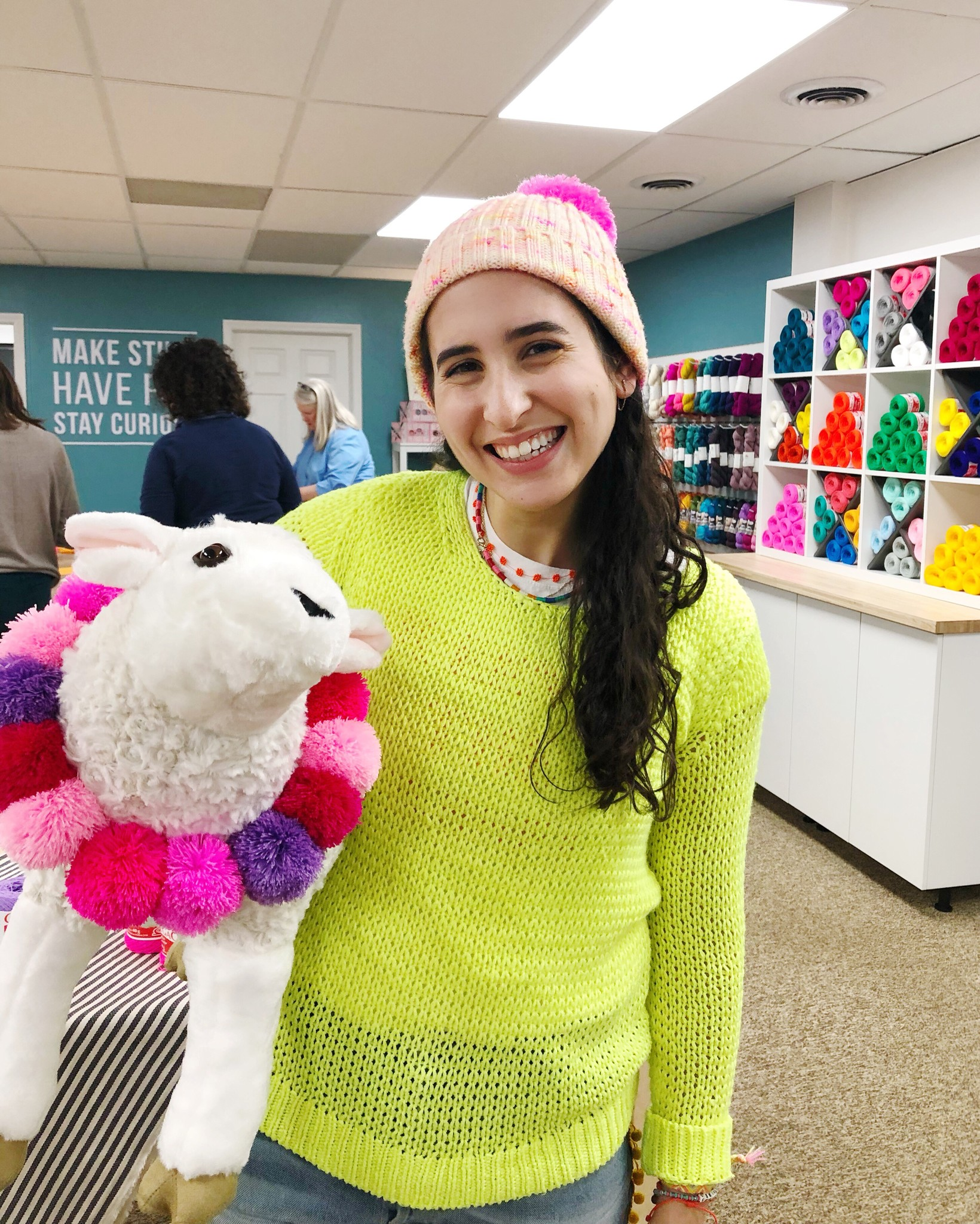Marisa and our sheep mascot Knitasha