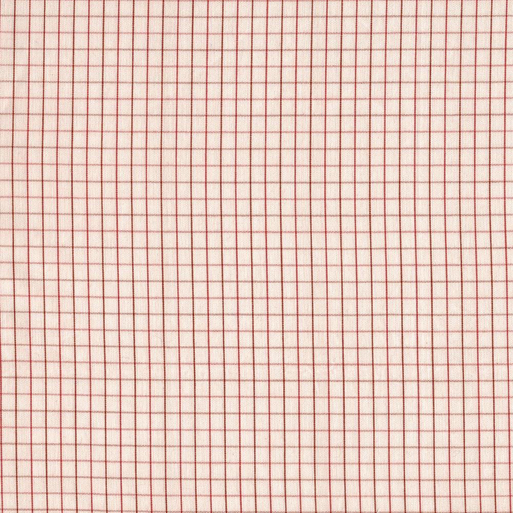 Carolyn Friedlander : Harriot : Peach Thin Check Yarn Dyed : 1/2 metre