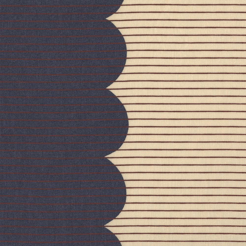 Carolyn Friedlander : Harriot : Steel Scallop Single Border : 1/2 metre