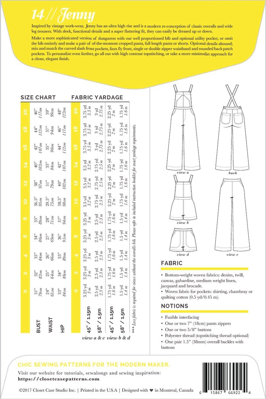 Closet Case Patterns : Sewing Pattern : Jenny Overalls & Trousers