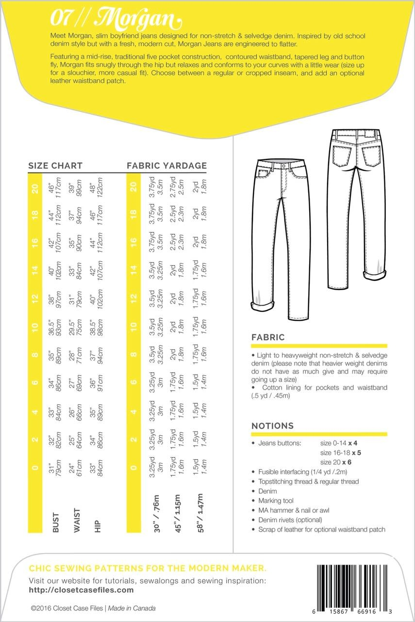 Closet Case Patterns : Sewing Pattern : Morgan Boyfriend Jeans