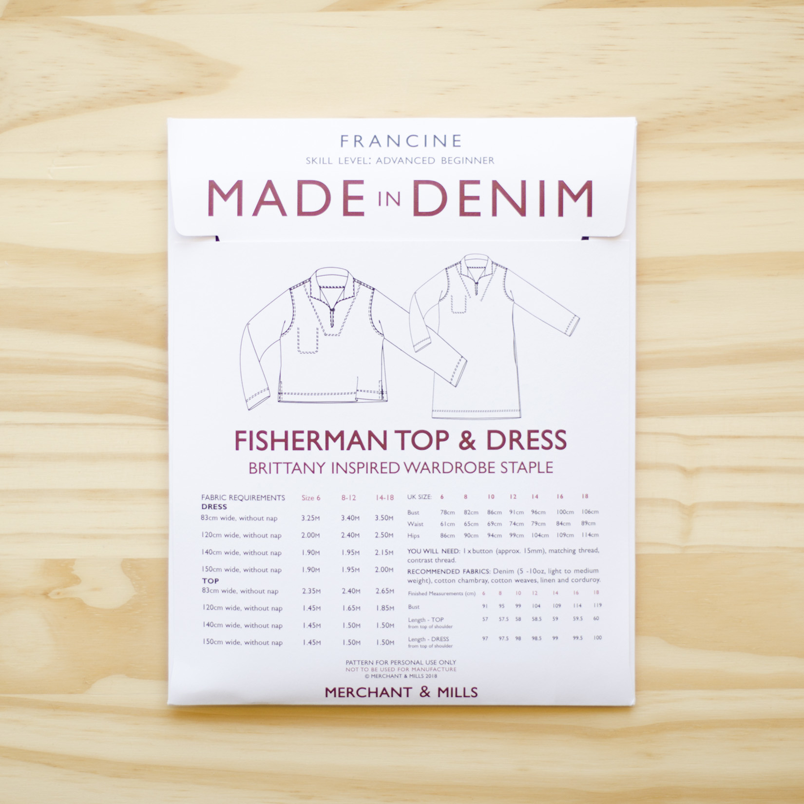 Merchant & Mills : Sewing Pattern : Francine