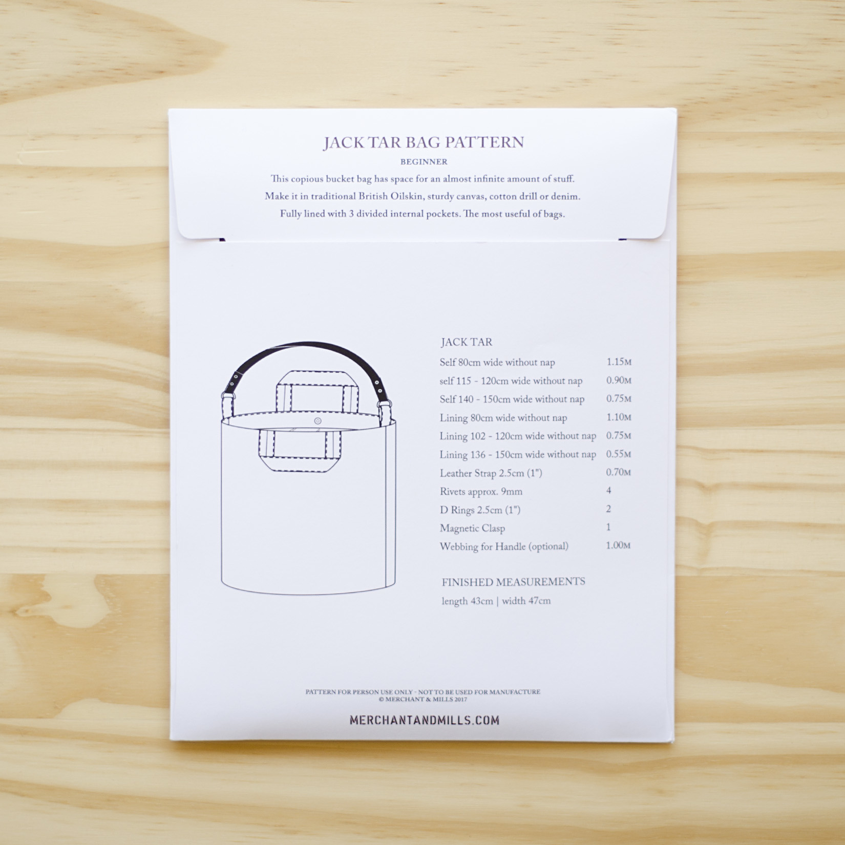 Merchant & Mills : Sewing Pattern : Jack Tar Bag