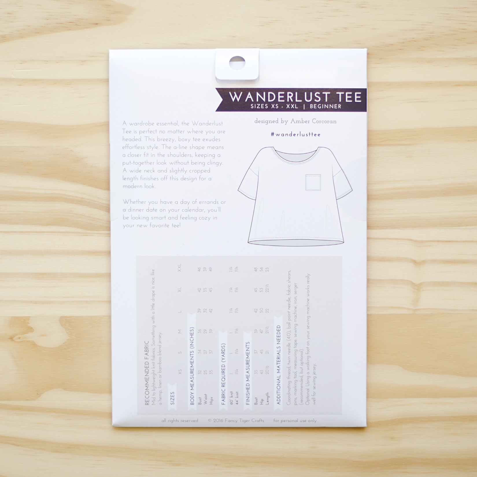 Fancy Tiger : Sewing Pattern : Wanderlust Tee