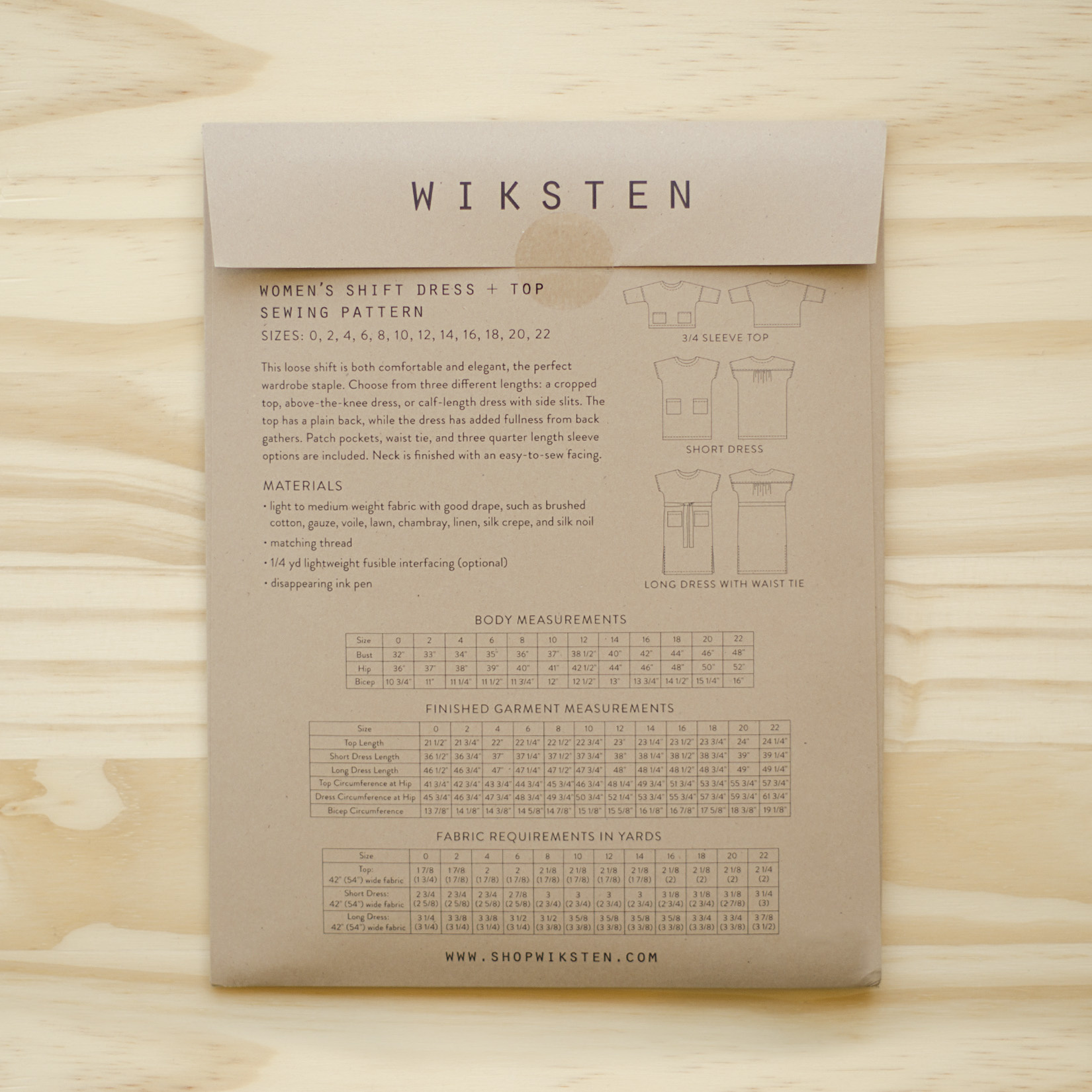 Wiksten : Sewing Pattern : Women's Shift Dress + Top