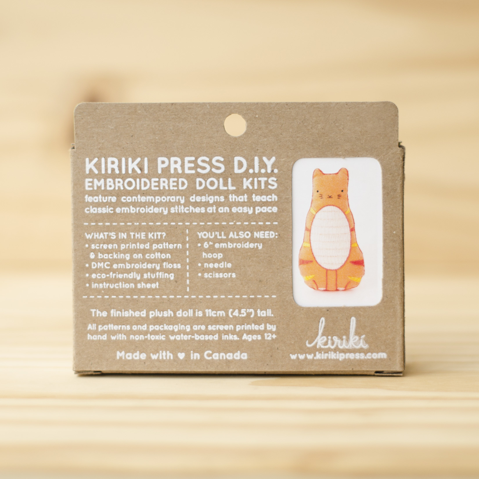 Kiriki Press : Embroidery Kit : Tabby Cat