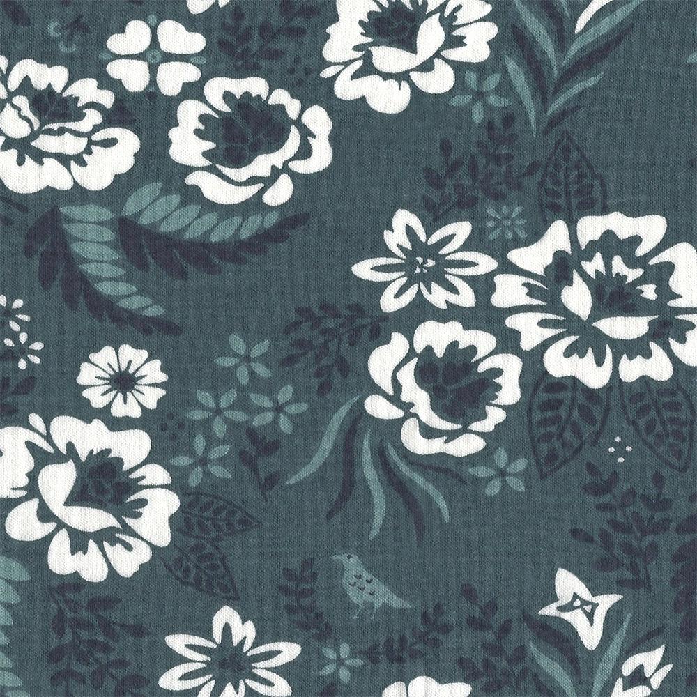 Arleen Hillyer : Merryweather : Slate Merry Floral Knit : 1/2 metre