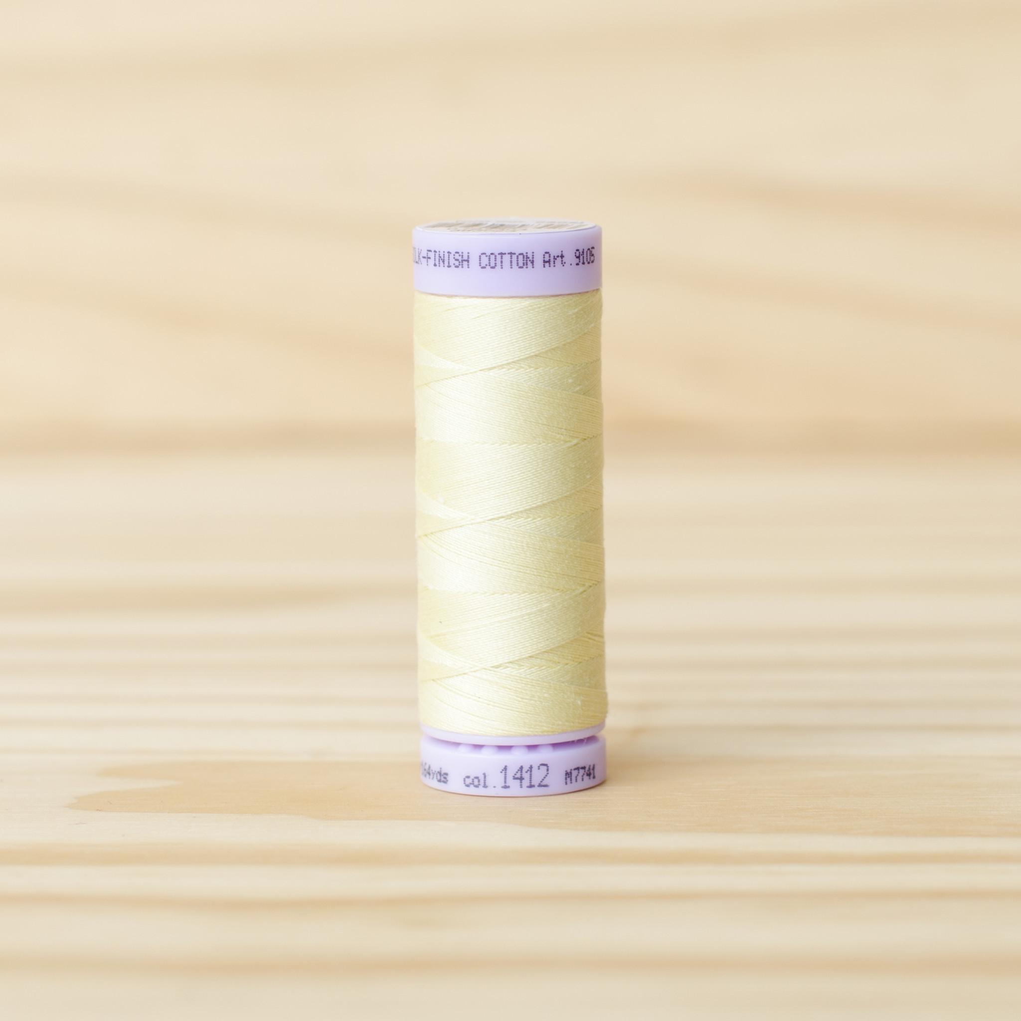 Mettler : Silk Finish 50wt Thread : 100% Cotton : 1412 Lemon Frost