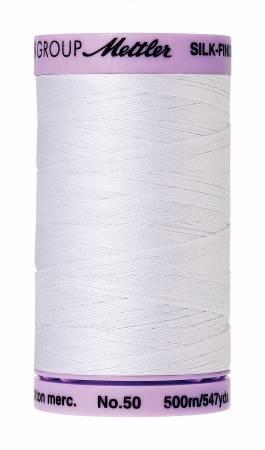 Mettler : Silk Finish 50wt Thread : 100% Cotton : 2000 White : 500m