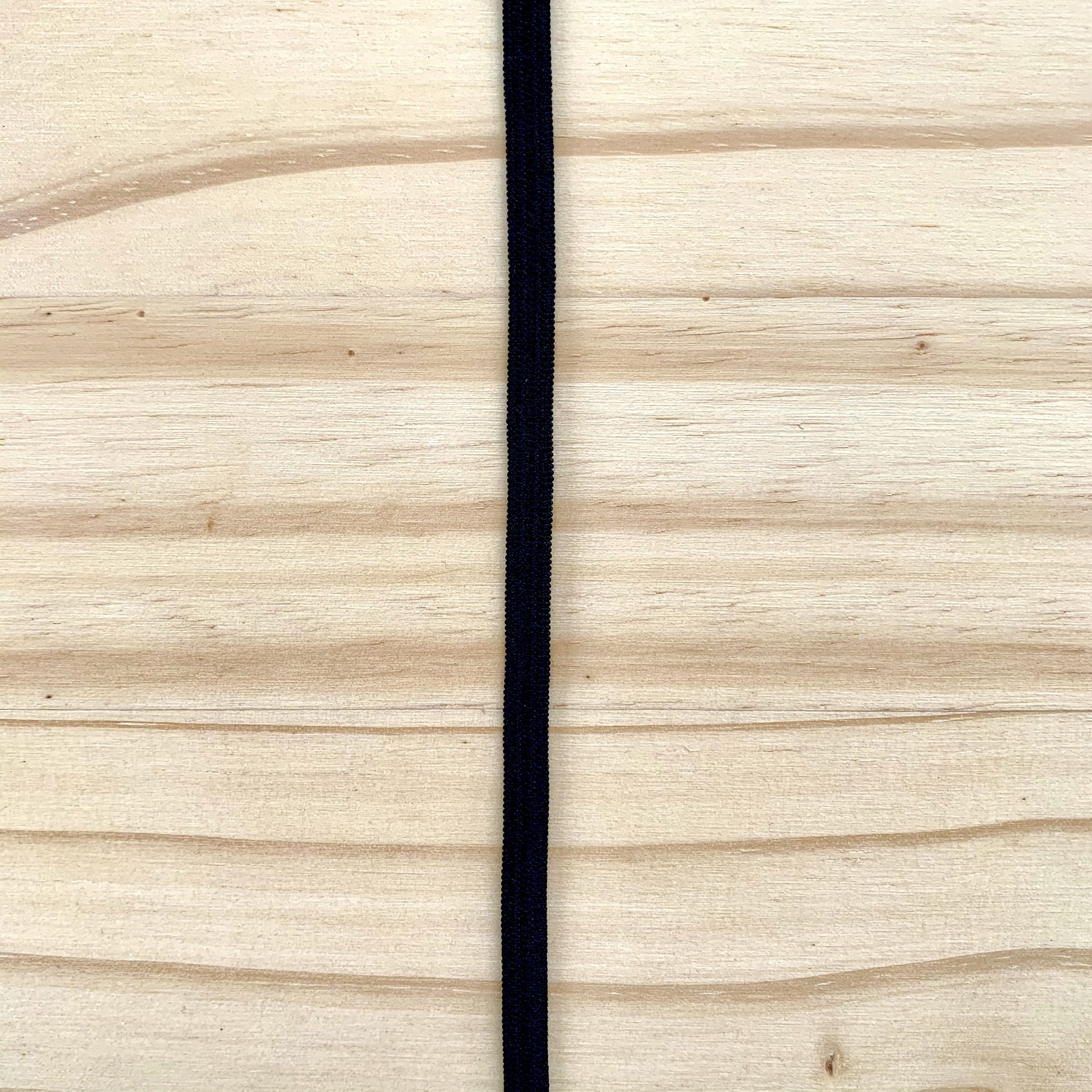 "Elastic : Black : 1/4"" (6mm) : 1 metre"
