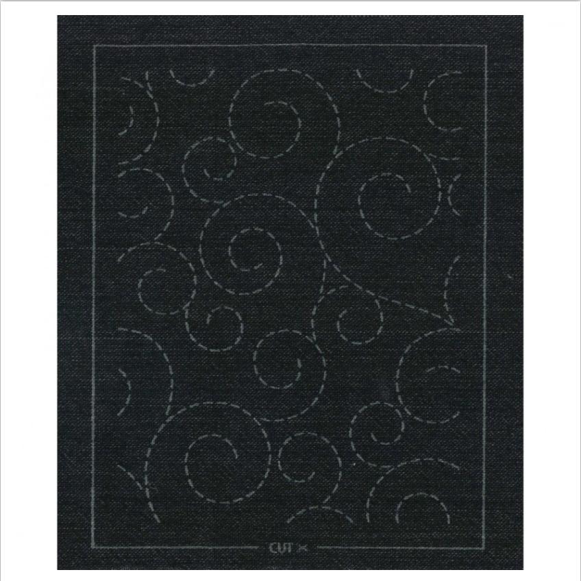 Olympus : Pre-Printed Sashiko Patch : Black Brown