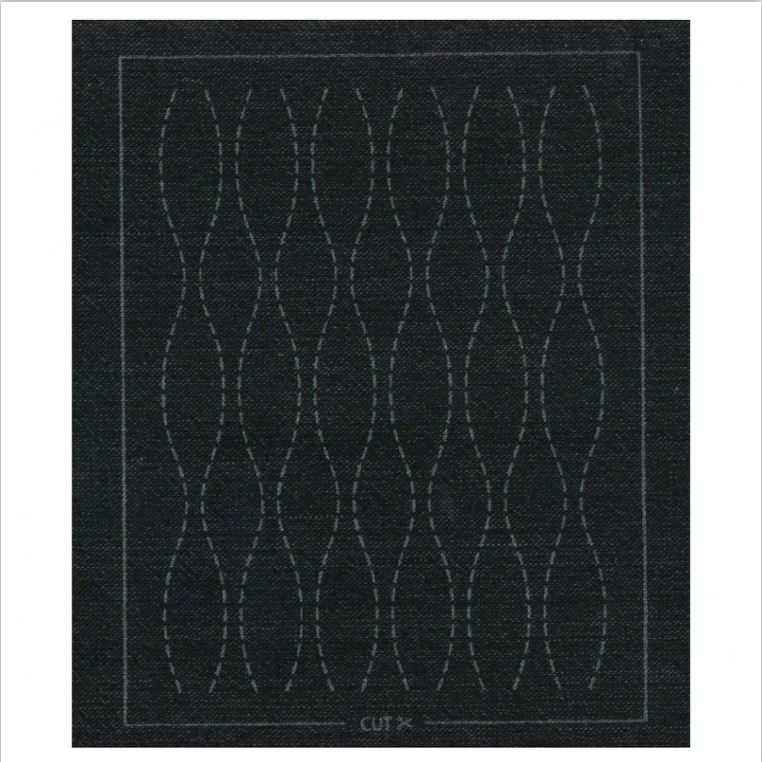 Olympus : Pre-Printed Sashiko Patch : Black Brown