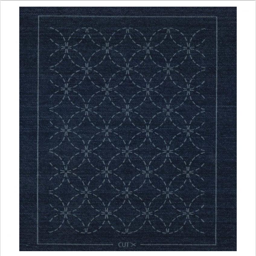 Olympus : Pre-Printed Sashiko Patch : Indigo Blue