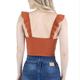 deep V ruffle sleeve bodysuit