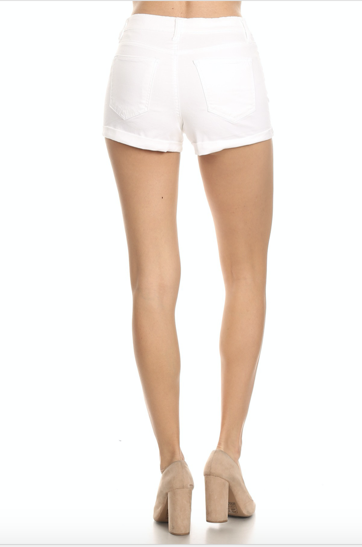 "2.5"" high rise roll cuff shorts"