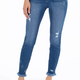 freyed bottom high rise ankle skinny jeans