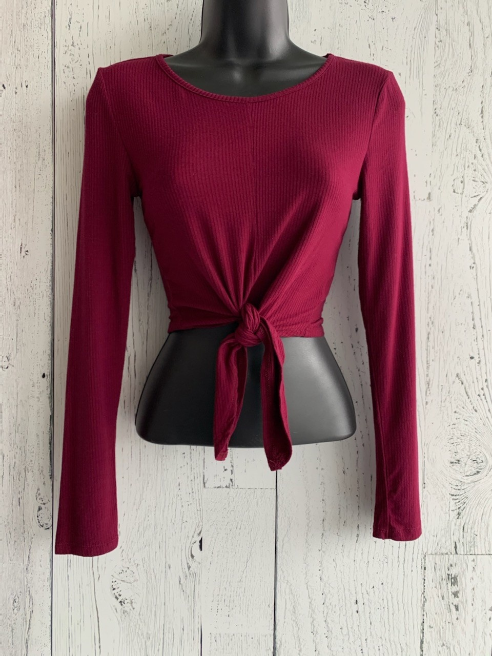 long sleeve ribbed tie  crop top