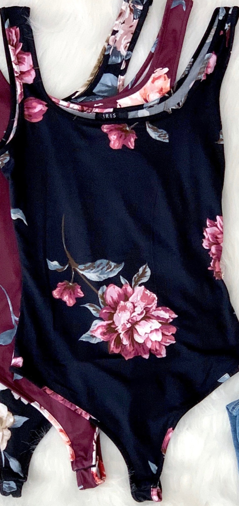 magenta floral bodysuit