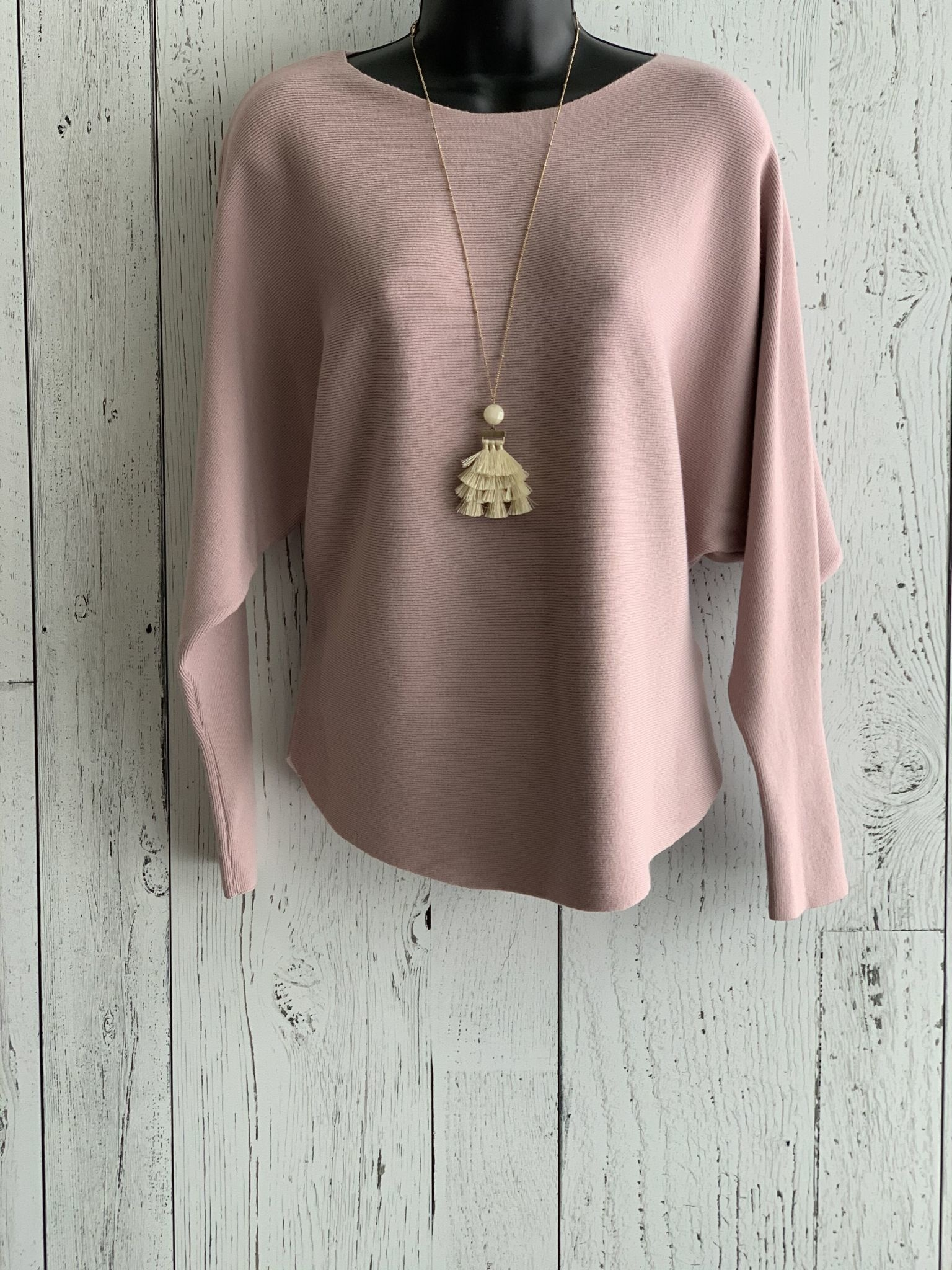 apricot - ribbed dolman sleeve sweater