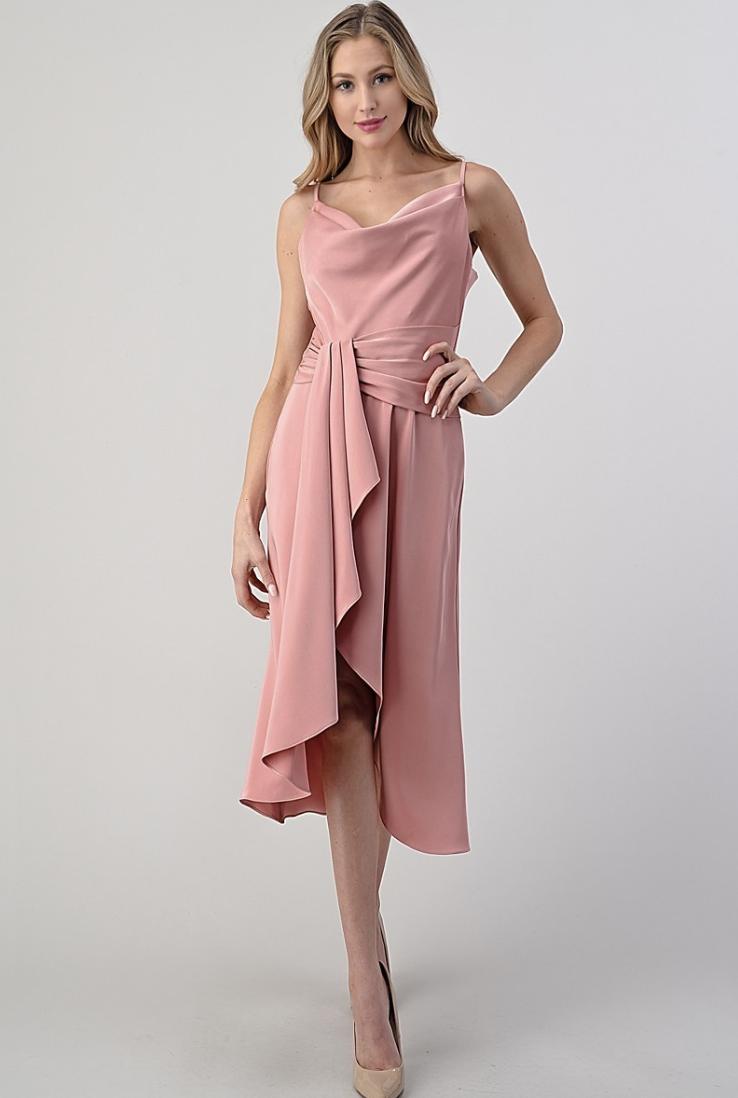 pleated sash fit & flare dress