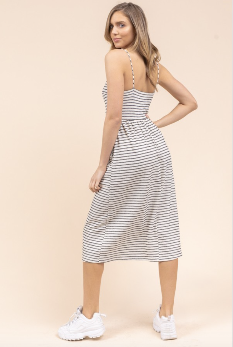 striped pocket maxi dress