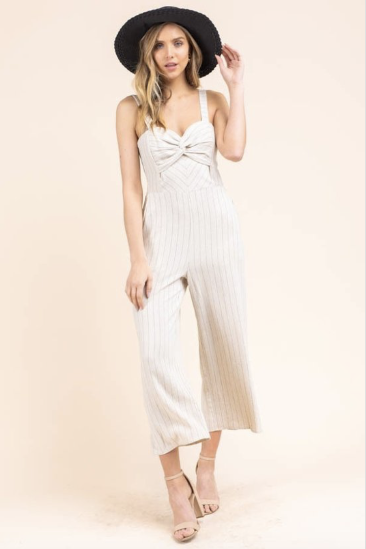 linen striped jumpsuit