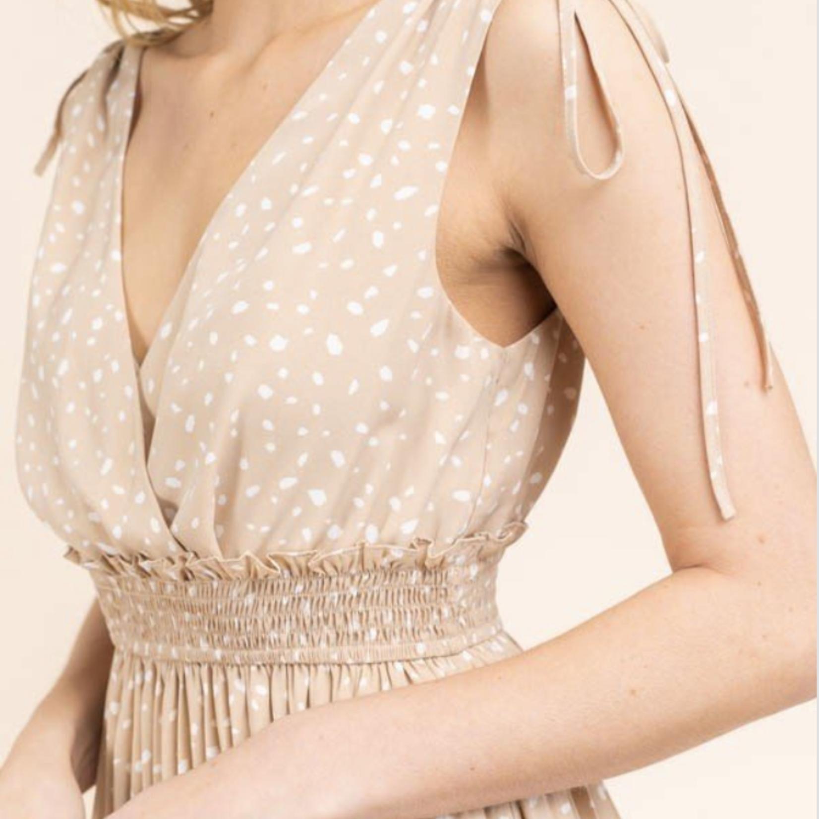 smocked waist pleated dress