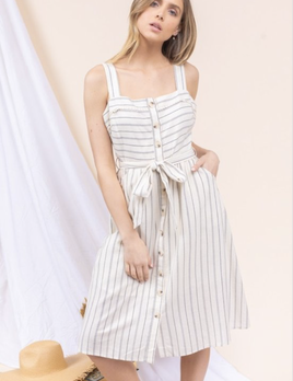 striped linen pocketed fit & flare dress