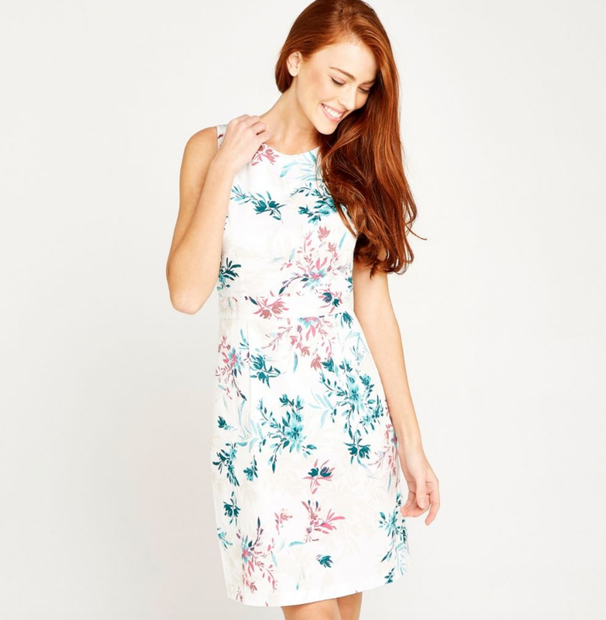 apricot - floral poplin shift dress