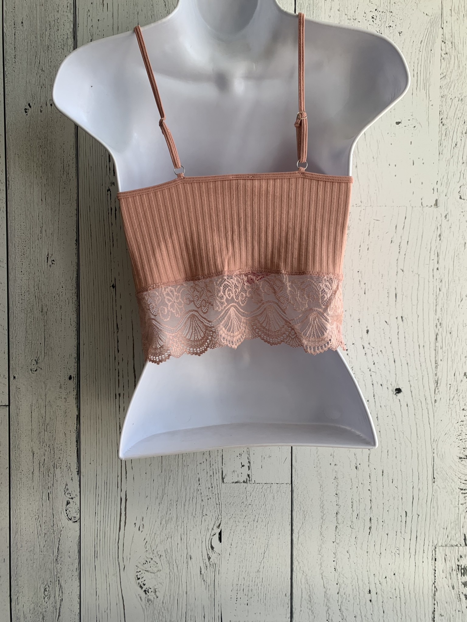 lace trim cami crop top