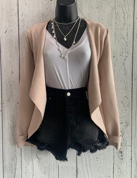 faux suede waterfall jacket