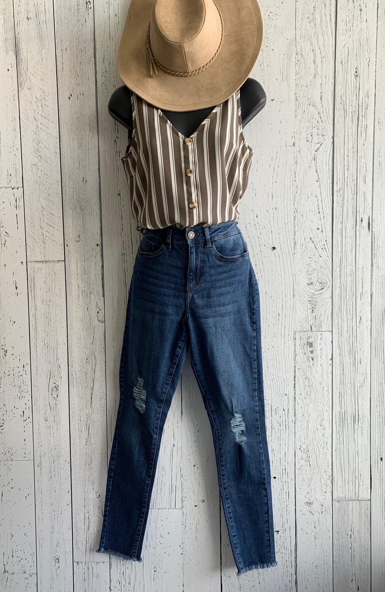 vero moda -striped wood  button top