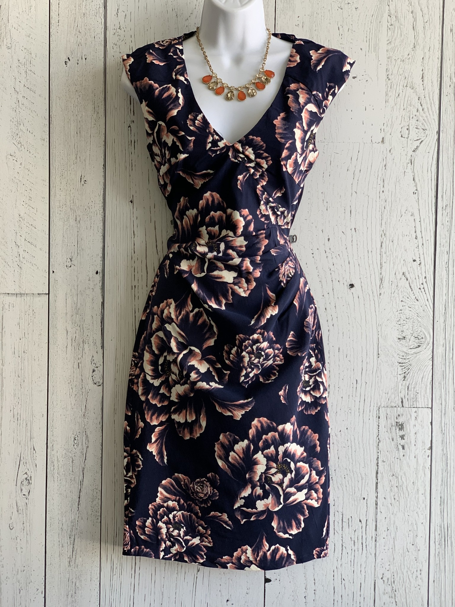 apricot - rose ruched dress