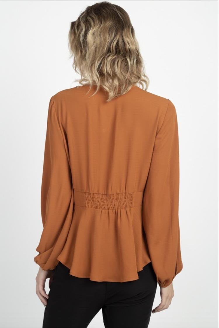 long sleeve peplum blouse