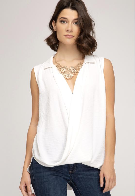 cross front sleeveless top