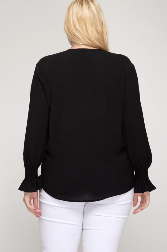 Sheila curvy long sleeve top with side tie