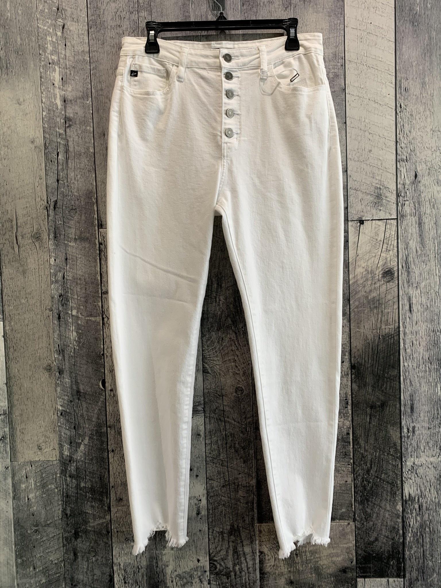 button down freyed btm jeans