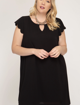 curvy scalloped shift dress