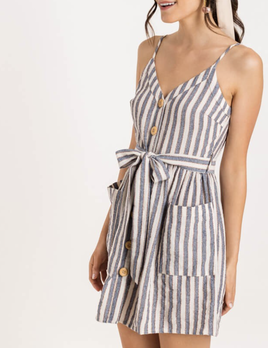 wood button mini dress