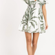 smock waist tropical dress