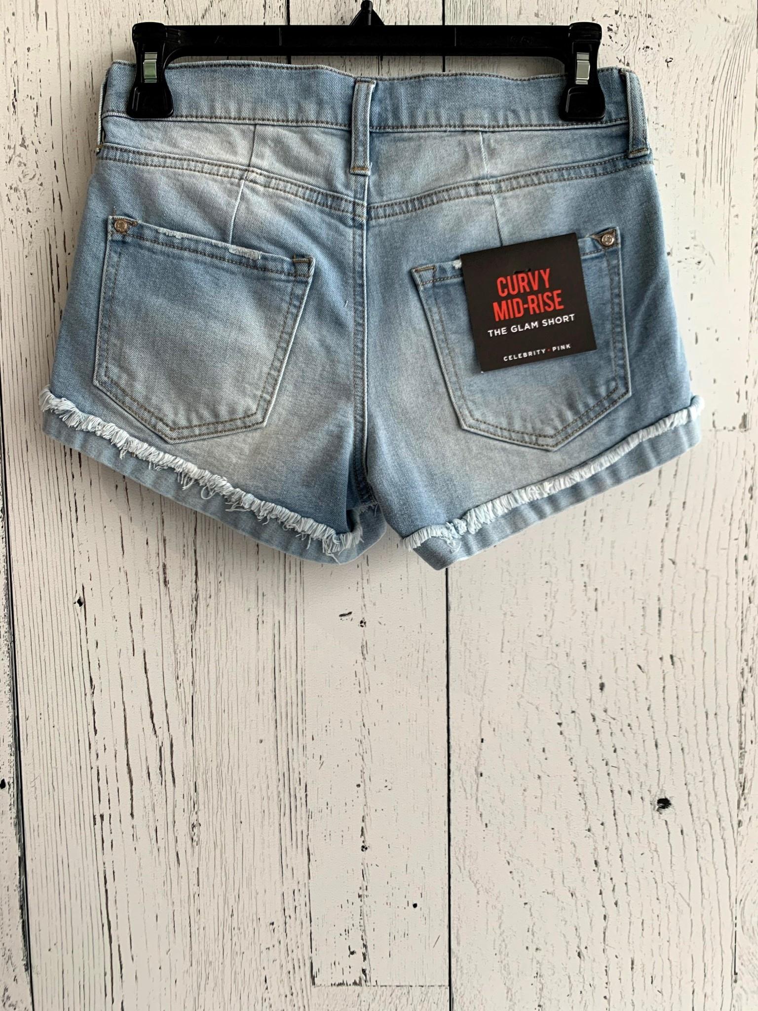 "3"" mid rise 4 button denim shorts"
