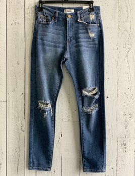 high rise skinny with knee slits