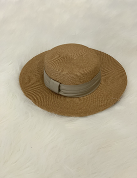 tan banded summer hat